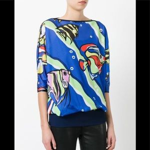 NWT Boutique Moschino blue fish print mesh top